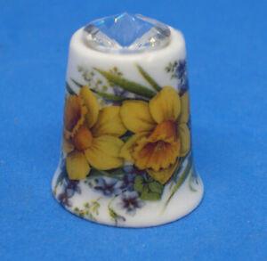 Birchcroft China Thimble - Daffodils with Swarovski Crystal -- Free Dome Box