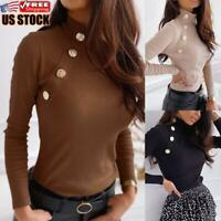 Womens Turtleneck Long Sleeve T-Shirt Tops Ladies Knitted Slim Fit Casual Blouse