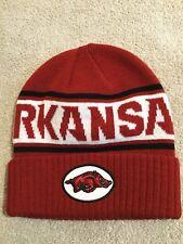 NIKE ARKANSAS RAZORBACKS Red, White, & Black Winter Beanie Hat. One Size. NEW.