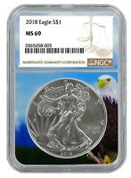 2018 1oz Silver American Eagle NGC MS69 - Brown Label - Eagle Core