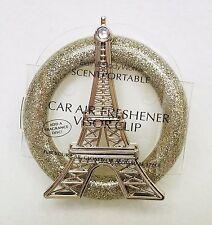 Bath Body Works Scentportable Holder EIFFEL TOWER Paris Gold Unit Car Visor Clip
