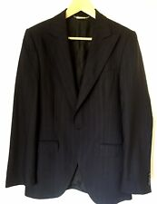 DOLCE & GABBANA Mens Navy Blue Striped Blazer Jacket 100% Wool Made in Italy