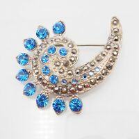 Vintage Estate Silver Tone Swirl With Blue Rhinestones And Marcasite Brooch Pin
