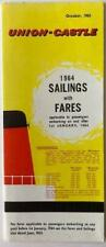 Union-Castle Sailings & Fares Leaflet 1964