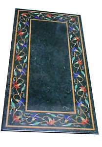 "48"" x 24"" Green Marble coffee Table top semi precious stone inlay home decor"