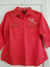 Rocawear Embroidered Embellished Button Up Shirt in Junior's size XL