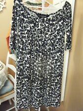 WOMENS NORMA KAMALI OFF THE SHOULDER DRESS BLACK WHITE GEO DESIGN MEDIUM