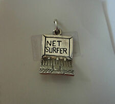 Sterling Silver 3D small 19x12mm say Net Surfer Computer Laptop Charm