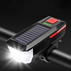 Solar Powered USB Rechargeable LED Bicycle Headlight Bike Head Light Lamp W/Horn