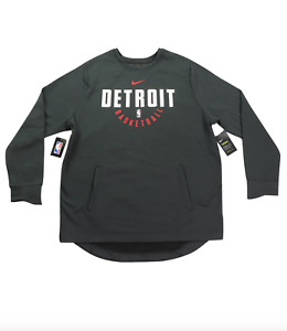 New Nike 3XLT Detroit Pistons Basketball Team Issued Crewneck Sweatshirt Gray