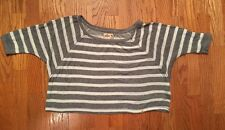 Hollister Gray & White Striped Women's Cropped Top Sweater  M/L