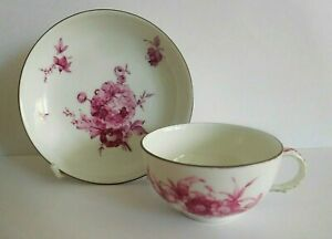 ANTIQUE KPM BERLIN SMALL PORCELAIN CUP AND SAUCER WITH FLORAL PUCE DECORATION
