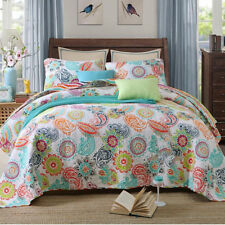 Cotton Floral Patchwork Quilted Bedspread Set Coverlets Queen King Size Bed New