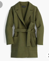 J.CREW Size M Wrap Coat in Boiled Wool DEEP MOSS Style G8031 $168