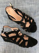 68220451c55 TARYN ROSE Sz 6 Slingback Wedge Sandal Heel Shoes Velvet Black Strappy Worn  Once