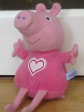 """PEPPA PIG 9-12"""" SOFT PLUSH TOY WITH LOVEHEART ON FRONT"""