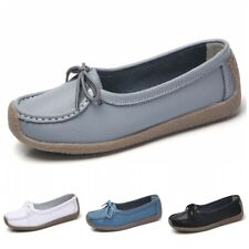 Women Comfort Slip On Bowknots Loafers Shoes Casual Moccasin-gommino Round Toe D