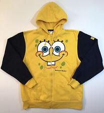 Men's Spongebob Squarepants Face Full Zip Hoodie Hooded Sweatshirt Sz Large L