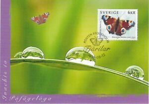 Peacock Aglais Io Butterfly Sweden Mint Maxi FDC Card 1999