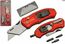 Folding Lock Back Utility Knife Box Cutter Clip 5 Blades With Screw Bits