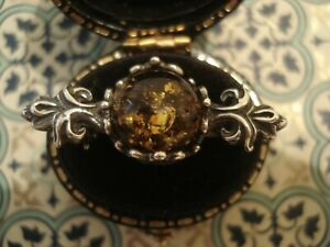 Beautiful,Finely Crafted Antique Inspired: Amber Gem set Sterling Silver Brooch