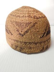 ANTIQUE VINTAGE YUROK (HUPA) INDIAN BASKET HAT NW CALIFORNIA - xlnt condition