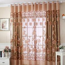 2016 Hot Fashion Coffee Beautiful Semi Shade Sheer Rich Flowers Pattern Curtain