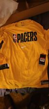 Indiana Pacers Nike Mens Dri-Fit  T-Shirt Size: LG Yellow Long Sleeve