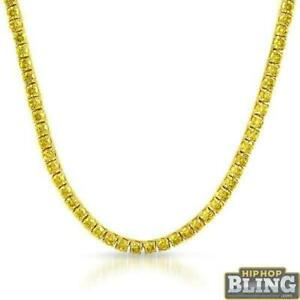 Iced Out Tennis Chain 6MM Lemonade Canary CZ Gold Stainless Steel Hip Hop Bling