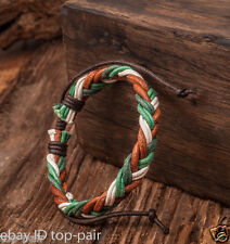 Adjustable Mens Classic Surfer Hemp Leather Braided Bracelet Bangle Cuff Green