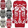 Womens Scary Skeleton Bones Knitted Jumper Ladies Halloween Pullover Mini Dress