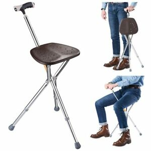 Portable Folding Seat Cane Walking Stick Height Adjustable Tripod with LED Light