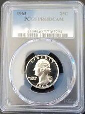 1963 proof quarter PR68dcam!  BLAST WHITE B&W DEEP CAMEO PF68ULTRACAMEO! 5294