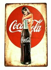 Coca Cola Coke Tin Sign Rustic Vintage Pinup Girl Advertising Style Diner Soda