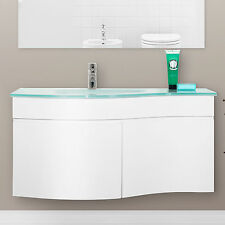 Mobile bagno sospeso 100 stondato lavabo in cristallo chiusura soft-close novità