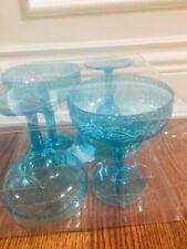 BRAND NEW SUMMER PLASTIC BPA FREE BLUE MARGARITA CUPS SET OF 4