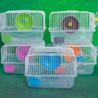Portable Hamster Carrier Small Pet Cage Syrian Hamster House with Disk Bottle