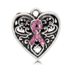 2 ANTIQUE SILVER PINK RHINESTONE AWARENESS HEART CHARM/PENDANT~Bracelets (52H)UK