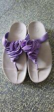 Fit Flop Slide Platform Sandals 8 Purple Suede Flower Wedge Heel wobbleboard