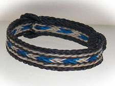 Braided Horse Hair Bracelet One Size Fits All Blue/White with Black WIDE