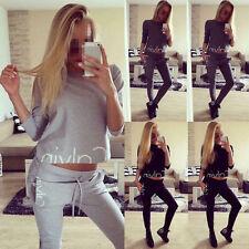 UK Women 2Pcs Tracksuit Hoodies Sweatshirt Pants Sets Sport Wear Lounge Suit