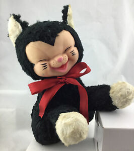 Vintage Cat Rubber Face Plush Stuffed Animal Rushton Gund Knickerbocker Type