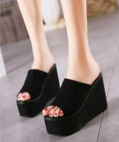Women's Casual Wedge High Heel Slipper Platform Shoes Sandals Black Slippers SZ
