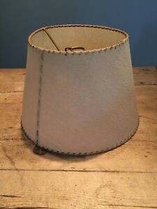 "1950-60s BEIGE RUSTIC LOOK BUMPY LAMP SHADE  7 3/4"" TOP X 8"" TALL X 12"" BOTTOM"