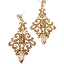 Chapado en Oro Anillo Pequeño Pendiente Con Piedra De Aros de Bollywood indio Diamonte claro