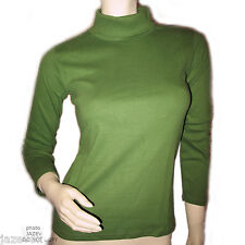 NEW GREEN 3/4 Long Sleeve TURTLENECK SHIRT TOP Winter Layering Clothing Womens S
