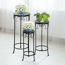 Outsunny 3PC support de fleurs rond mosaïque plant pot Tabouret Set vintage side table