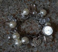 Pearls Clock Rhinestone Heart Charms Novelty Bracelet Beaded Transparent Beads