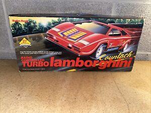 Radio Shack Vintage Red Turbo Lamborghini Countach RC Car w/Original Box 60-4074