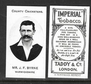 NOSTALGIA REPRINT TADDY & CO J.F.BYRNE WARWICKSHIRE COUNTY CRICKETERS
